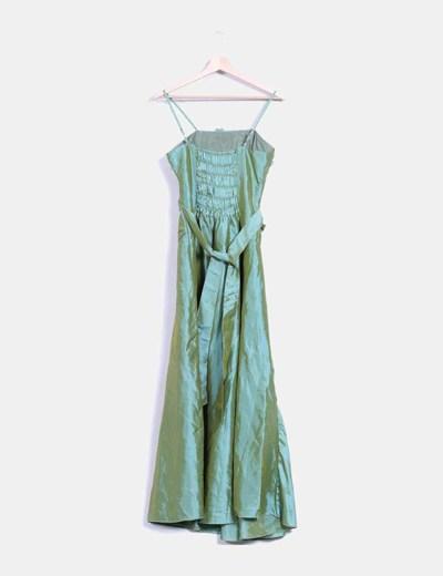 Maxi vestido verde detalle abalorios