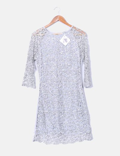 Vestido gris con bordado brillante plateado Privée