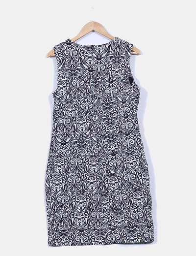 Vestido texturizado estampado greca
