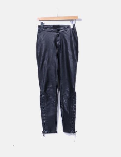 Pantalón negro efecto piel H&M