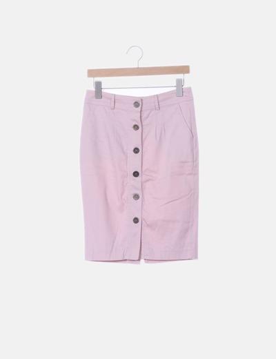 Falda midi rosa palo con botones