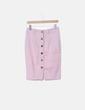 Falda midi rosa palo con botones Erre de Raso
