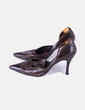 Zapato de tacón polipiel marrón acabado en punta Magrit