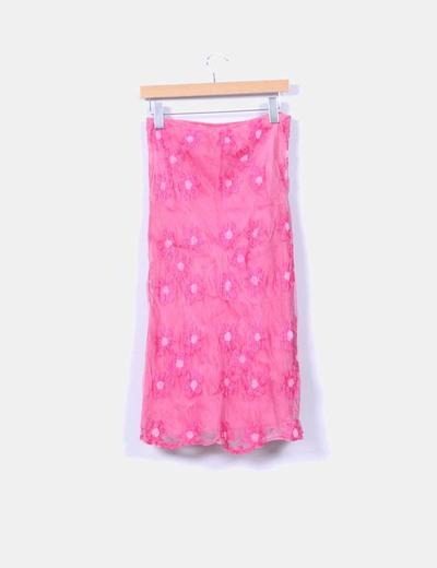 Falda maxi seda rosa bordada