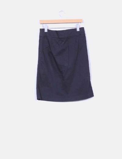 Falda midi negra cintura detalles polipiel
