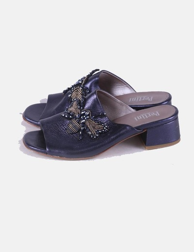 Blue clogs with strass Pertini