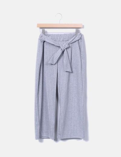 Pantalon gris droit à rayures NoName