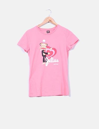 Camiseta fucsia print mono Paul Frank