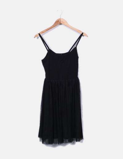 Robe noire à bretelles H&M