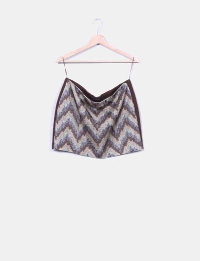 Mini falda étnica pedrería  Zara