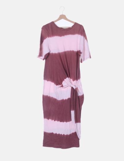 Vestido rosa degradado detalle fruncido