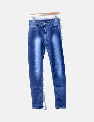 Pantalón denim azul pitillo