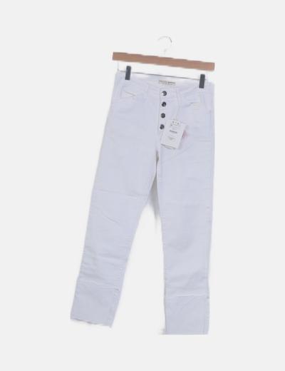 Pantalón pirata cintura alta blanco
