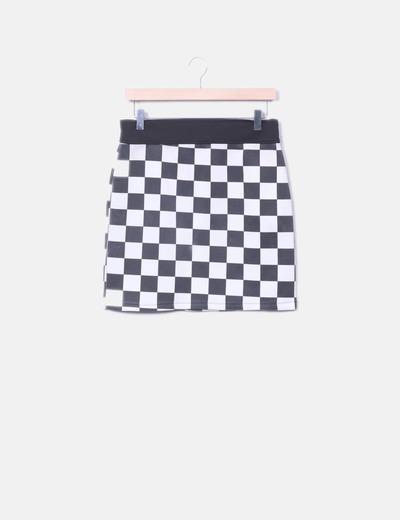 Mini falda cuadros blanco y negro
