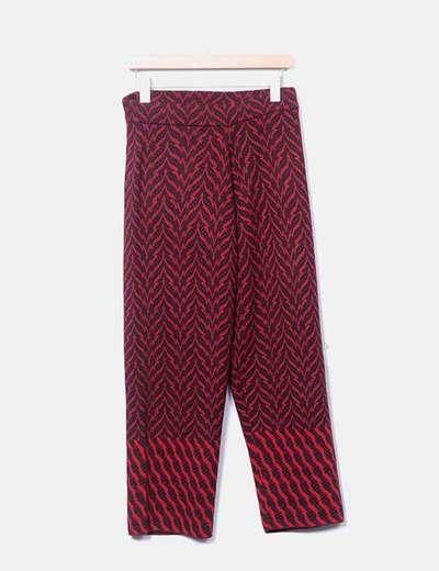 Pantalón de lana rojo jaspeado