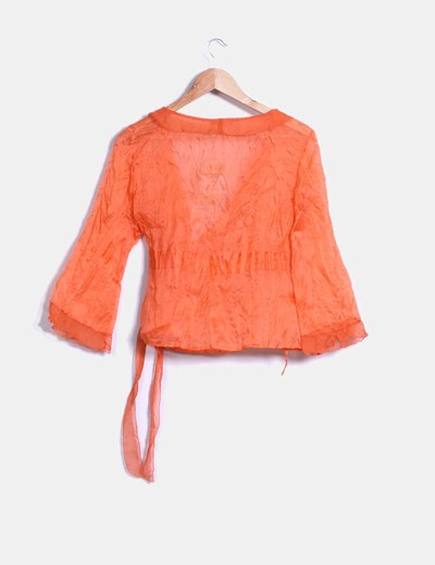 Conjunto falda larga de gasa con forro y blusa naranja semitransparente