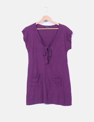 Churros Robe violette à poches en tricot (réduction 91%) - Micolet 639e54eca0e