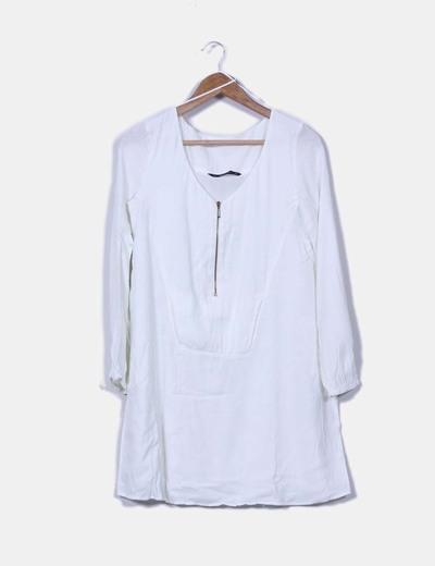 Vestido blanco manga larga zara