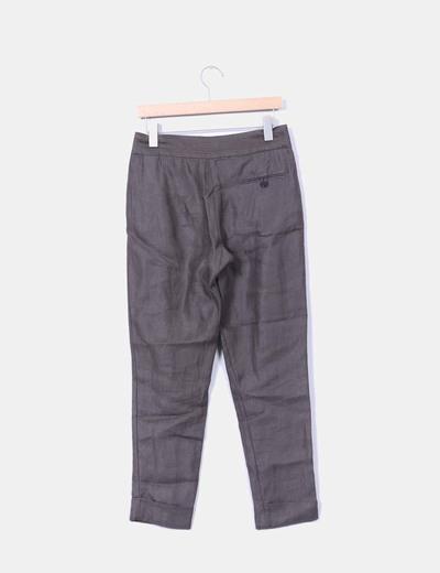 Pantalon verde kaki de lino