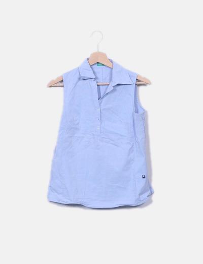 Camisa azul sin mangas Benetton