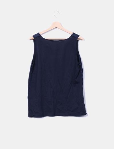 Conjunto de blusa y chaqueta azul marino saten