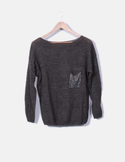 Pull marron tricoté avec strass NoName