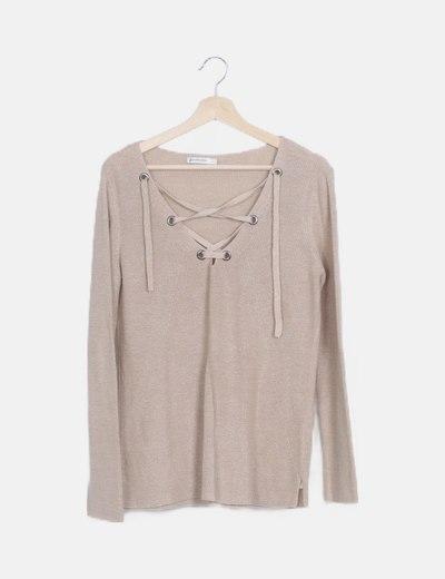 Jersey tricot beige escote con lazada