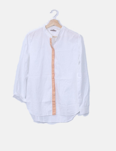 Camisa blanca franja naranja