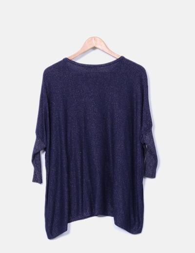 Jersey tricot azul con brillos
