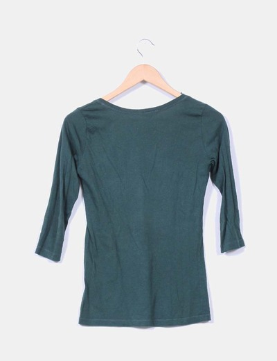 Camiseta verde manga francesa