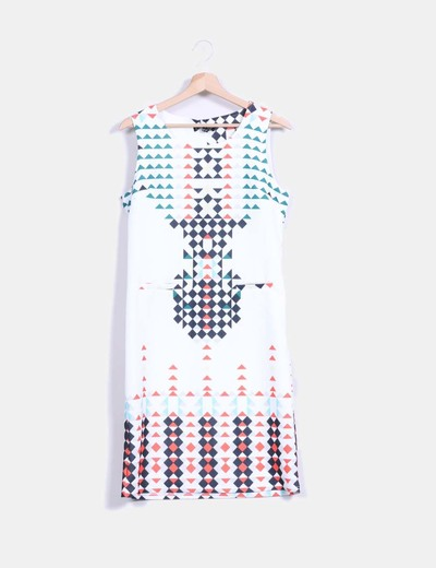Vestido midi blanco estampado multicolor Smashed Lemon