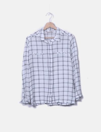 Camisa blanca cuadros