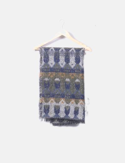 Maxi bufanda azul estampada