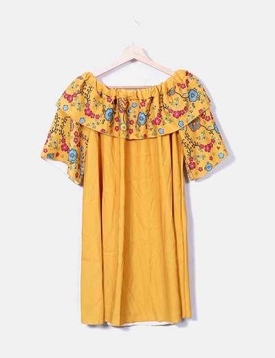 Vestido amarillo escote barco NoName