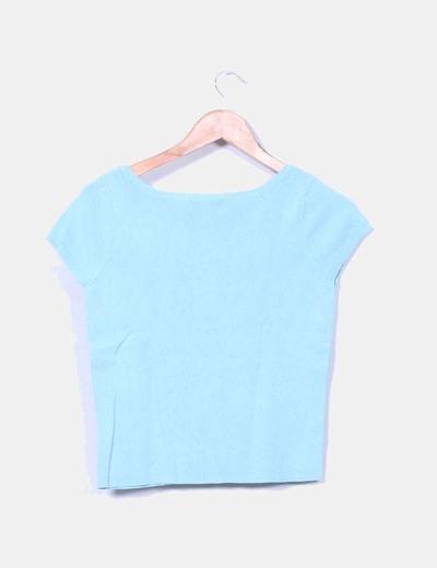 Top azul elastico manga corta