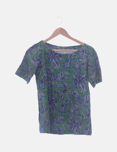Camiseta manga corta print verde y azul