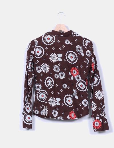 Camisa marron estampado floral
