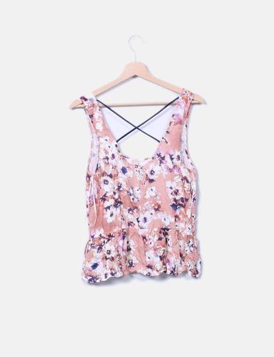 Camiseta floral escote espalda