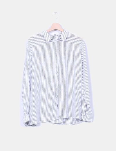 Camisa fluida blanca rayas negras Mango