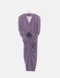 Vestido midi morado drapeado Asuncion Giralt