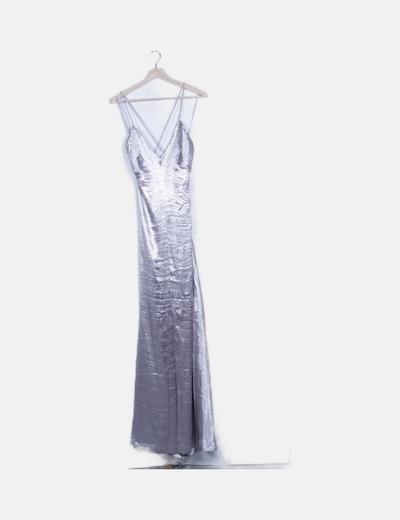 Vestido maxi de tirantes plata satén
