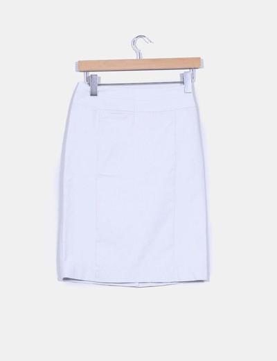Falda tubo blanca estampado rayas finas