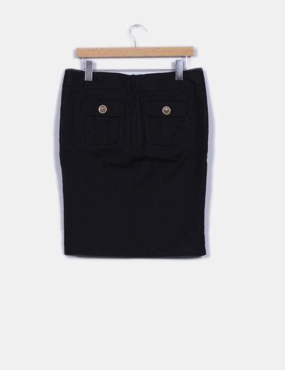 Falda tubo negra detalle abertura central
