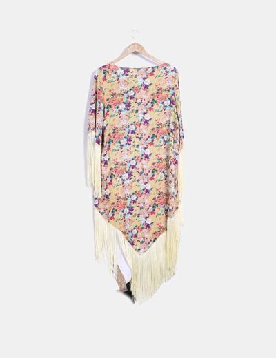 Cardigan con estampado floral combinado con flecos