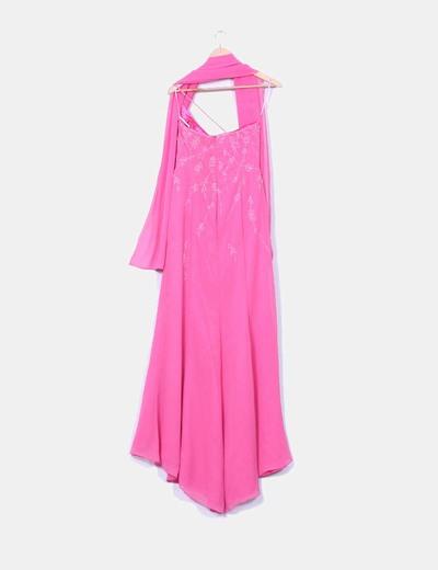 Vestido maxi rosa pedreria escote asimetrico