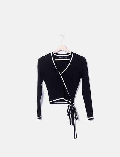 Jersey negro cruzado raya blanca Karen Millen