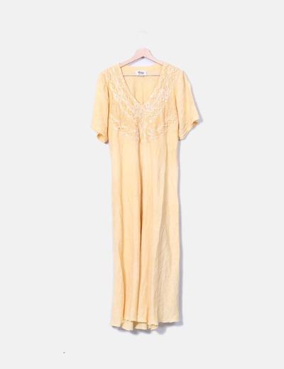 Maxi vestido de lino amarillo Made in Italy