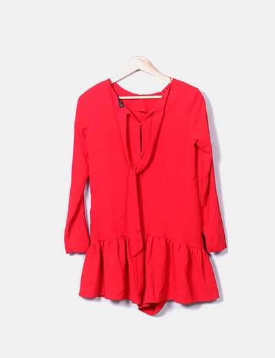 Micolet Volante Vestido Zara descuento Manga Rojo Larga 42 B0Bqw1Zd