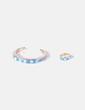 Conjunto de anillo y pulsera blanco y azul Bimba&Lola