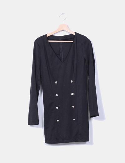 Vestido negro entallado con botones NoName